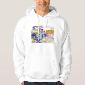 Watercolor hand and guitar hoody