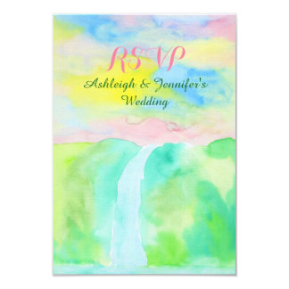 Watercolor Hand Drawn Waterfall Painting RSVP 3.5x5 Paper Invitation Card