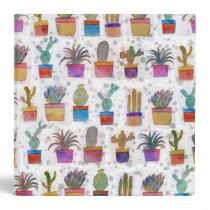 Watercolor hand paint cactus pattern binder