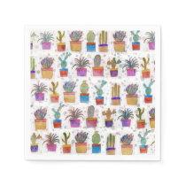 Watercolor hand paint cactus pattern napkin