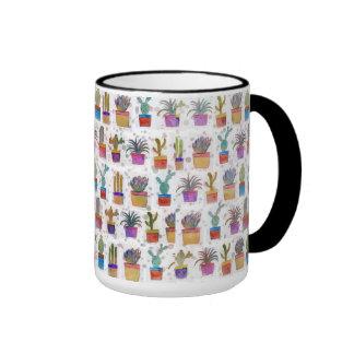 Watercolor hand paint cactus pattern ringer mug