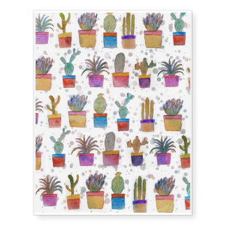 Watercolor hand paint cactus pattern temporary tattoos