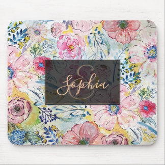 Watercolor hand paint floral design mouse pad