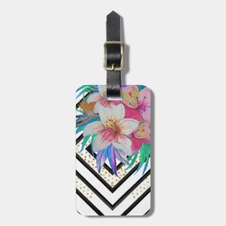Watercolor hand paint tropical flowers tag for luggage