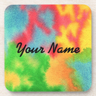 Watercolor Hand-Painted Abstract Red Yellow Green Drink Coaster