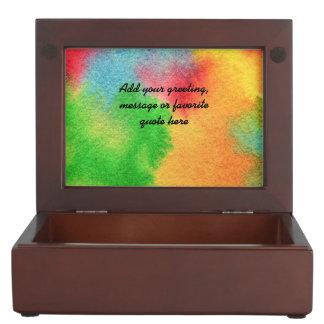 Watercolor Hand-Painted Abstract Red Yellow Green Keepsake Box