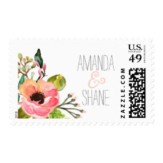 Watercolor hand painted Floral Postage Stamps
