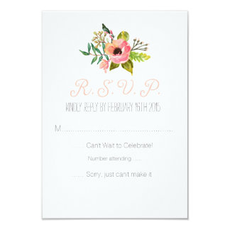 """Watercolor hand painted Floral RSVP card 3.5"""" X 5"""" Invitation Card"""