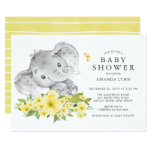 Watercolor Happy Elephant  Neutral Baby Shower Invitation