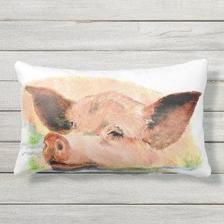 Watercolor Happy Sleeping Pig Farm Animal art Lumbar Pillow