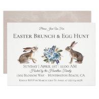 Watercolor Hare Easter Brunch Egg Hunt Invitation