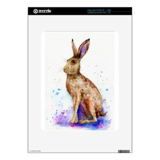 Watercolor hare portrait decal for iPad