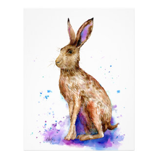 Watercolor hare portrait letterhead