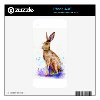 Watercolor hare portrait skin for the iPhone 4