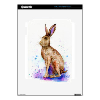 Watercolor hare portrait skins for the iPad 2