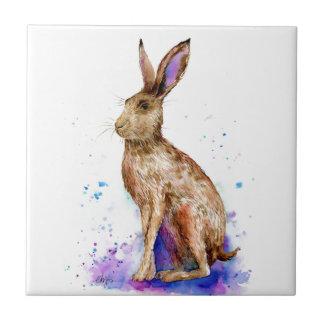 Watercolor hare portrait tile