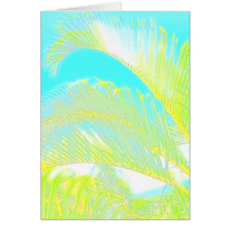 Watercolor hawaiian palm leaves greeting card