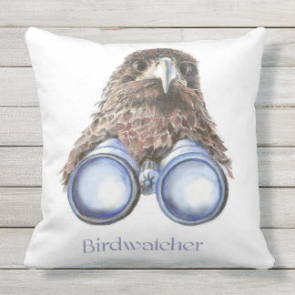 Watercolor Hawk Birdwatcher Bird Fun Outdoor Pillow