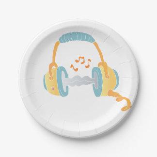 watercolor headphone. paper plate