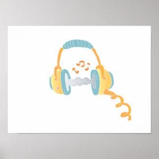 watercolor headphone. poster