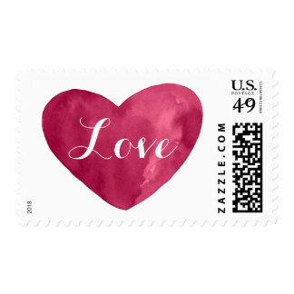 Watercolor Heart Burgundy red Postage Stamps