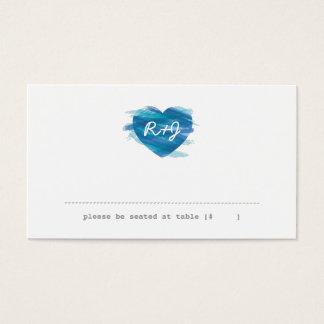 Watercolor Heart Escort Card - Blue