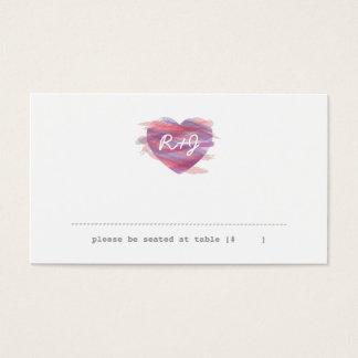 Watercolor Heart Escort Card - Pink