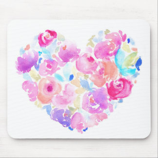 Watercolor Heart. Flower Heart Mouse Pad