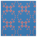 Watercolor Heart Flowers Circle Print Blue Fabric