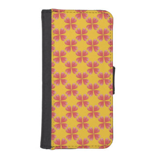 Watercolor Heart Flowers on yellow background iPhone 5 Wallet Cases