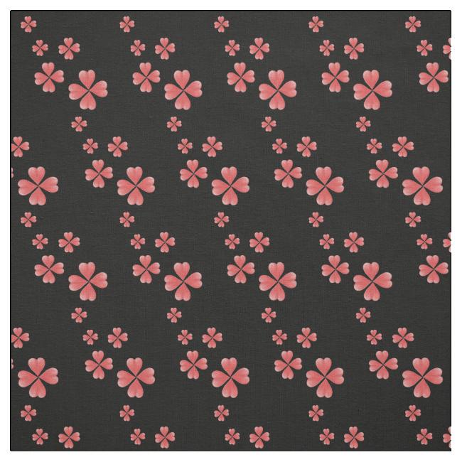 Watercolor Heart Flowers Print Black Fabric