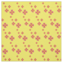 Watercolor Heart Flowers Print Yellow Fabric