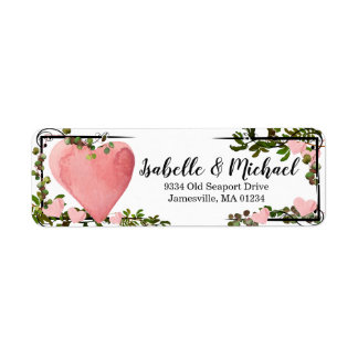 Watercolor Heart & Greenery Return Address Labels