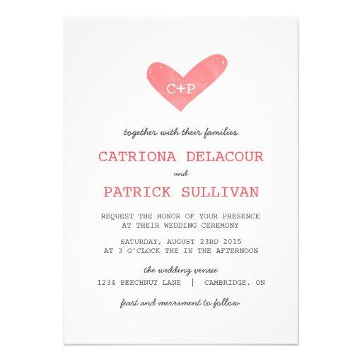 Watercolor Heart Handwritten Wedding Invitations 5 X 7