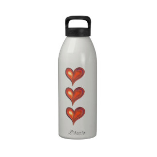 Watercolor heart in red shades drinking bottle