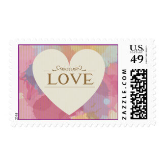 Watercolor Heart Love Pink, Purple, Paint Stamps