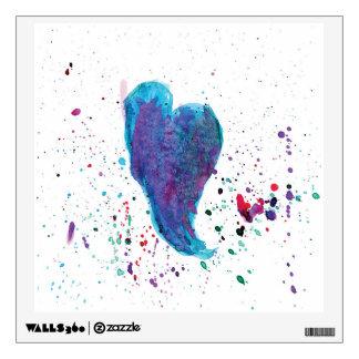 Watercolor Heart Multicolored Splashes Wall Sticker