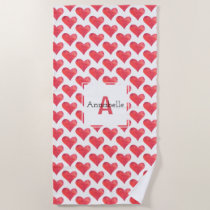 Watercolor Heart Pattern Personalized Monogram Red Beach Towel