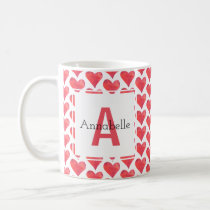 Watercolor Heart Pattern Personalized Monogram Red Coffee Mug