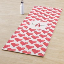 Watercolor Heart Pattern Personalized Monogram Red Yoga Mat