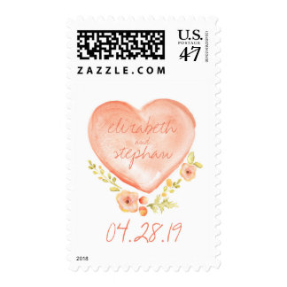 watercolor heart rustic wedding postage stamps