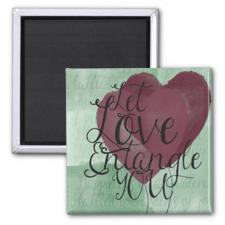 Watercolor Hearts 2 Inch Square Magnet