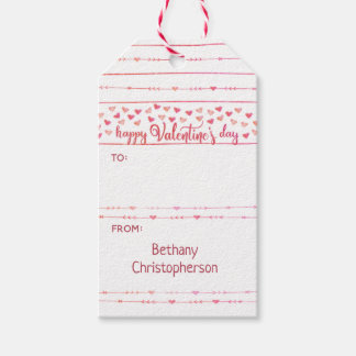 Watercolor Hearts and Arrows Valentine Gift Tags