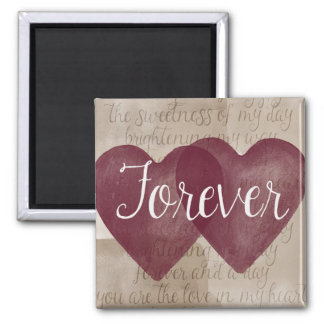 Watercolor Hearts Forever 2 Inch Square Magnet