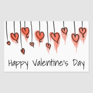 Watercolor Hearts | Happy Valentine's Day Rectangular Sticker