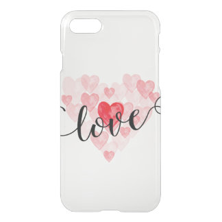 Watercolor hearts Love iPhone 7 Clear Case