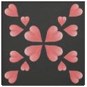 Watercolor Hearts Mirrored Design On Black Fabric