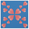 Watercolor Hearts Mirrored Design On Blue Fabric