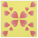 Watercolor Hearts Mirrored Design On Yellow Fabric