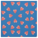 Watercolor Hearts On Blue, Tossed Print Fabric